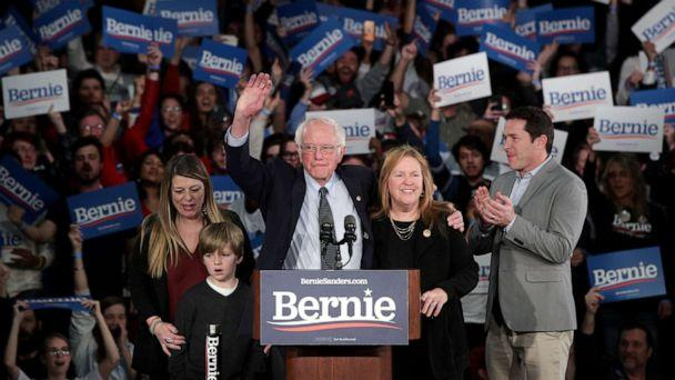 PHOTO: Democratic presidential candidate Sen. Bernie Sanders with his wife Jane Sanders and family addresses supporters during his caucus night watch party on Feb. 03, 2020 in Des Moines, Iowa. (Alex Wong/Getty Images)