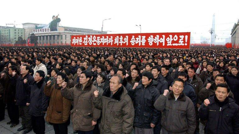 More than 100,000 troops and civilians stage a mass rally in Pyongyang, on February 14, 2013