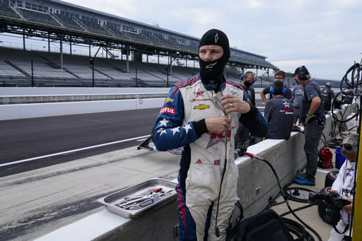 Ben Hanley, of England, prepares to drive during practice for the Indianapolis 500 auto race at Indianapolis Motor Speedway in Indianapolis, Thursday, Aug. 13, 2020. (AP Photo/Michael Conroy)