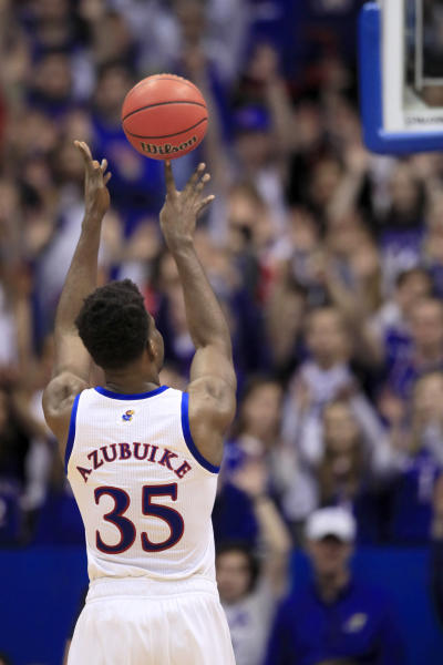 Kansas center Udoka Azubuike (35) makes a free-throw during the second half of an NCAA college basketball game against Tennessee in Lawrence, Kan., Saturday, Jan. 25, 2020. Kansas defeated Tennessee 74-68. (AP Photo/Orlin Wagner)