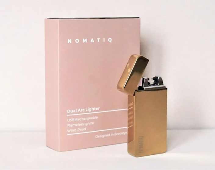 """This sleek-looking lighter from Nomatiq may look simple, but it's sure to make him look Indiana Jones–level cool anytime he uses it. $30, The Grommet. <a href=""""https://www.thegrommet.com/products/nomatiq-dual-arc-electric-lighter"""" rel=""""nofollow noopener"""" target=""""_blank"""" data-ylk=""""slk:Get it now!"""" class=""""link rapid-noclick-resp"""">Get it now!</a>"""