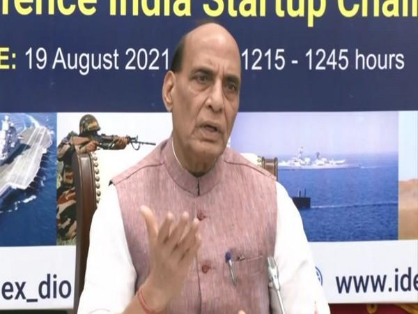 Defence Minister Rajnath Singh speaking at launch of Defence India Startup Challenge (DISC) 5.0 on Thursday. (Photo/PIB)