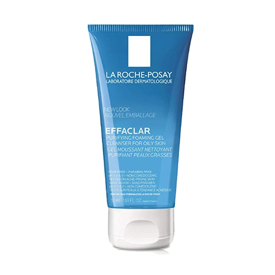 """<p>Keep your skin pH balanced no matter where you go with this popular <a href=""""https://www.popsugar.com/buy/La%20Roche-Posay%20Effaclar%20Purifying%20Foaming%20Gel%20Cleanser-474717?p_name=La%20Roche-Posay%20Effaclar%20Purifying%20Foaming%20Gel%20Cleanser&retailer=amazon.com&pid=474717&price=8&evar1=bella%3Aus&evar9=46445677&evar98=https%3A%2F%2Fwww.popsugar.com%2Fbeauty%2Fphoto-gallery%2F46445677%2Fimage%2F46445739%2FLa-Roche-Posay-Effaclar-Purifying-Foaming-Gel-Cleanser-Oily-Skin&list1=shopping%2Ctravel%2Camazon%2Cbeauty%20products%2Cbeauty%20shopping&prop13=api&pdata=1"""" rel=""""nofollow"""" data-shoppable-link=""""1"""" target=""""_blank"""" class=""""ga-track"""" data-ga-category=""""Related"""" data-ga-label=""""https://www.amazon.com/Roche-Posay-Effaclar-Purifying-Foaming-Cleanser/dp/B006JV7J5S/ref=sr_1_1?crid=3B98SXOSRZ21P&amp;keywords=la%2Broche%2Bposay%2Btravel%2Bsize&amp;qid=1564685851&amp;s=gateway&amp;sprefix=la%2Bro%2Caps%2C213&amp;sr=8-1&amp;th=1"""" data-ga-action=""""In-Line Links"""">La Roche-Posay Effaclar Purifying Foaming Gel Cleanser </a> ($8). The cleanser's gentle formula is great for sensitive and oily skin types.</p>"""
