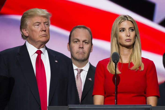 Republican nominee Donald Trump and his daughter Ivanka with Rick Gates at the Republican Convention in 2016. (Photo: Brooks Kraft/ Getty Images)