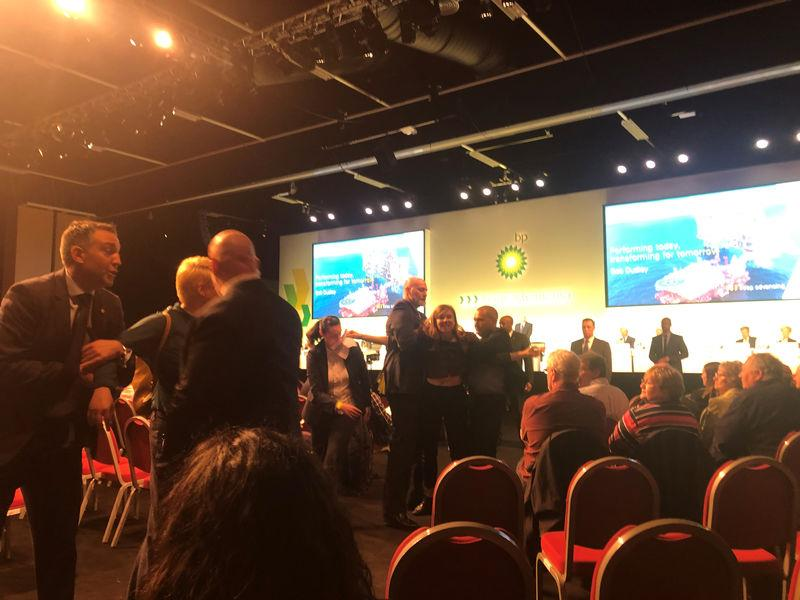 Protesters disrupt oil and gas giant BP's annual general meeting of shareholders in Aberdeen