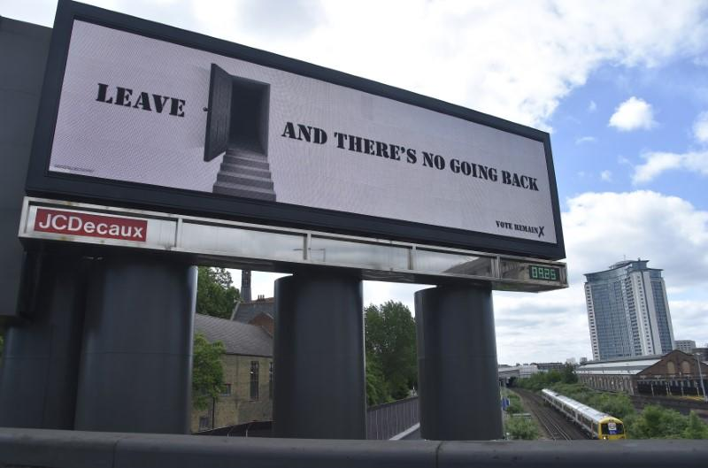 A 'Vote Remain' campaign electronic billboard is seen in London, Britain