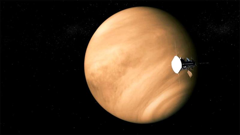 The Parker probe begins the first of its seven revolutions of Venus in a gravity assist en route the Sun. Image courtesy: NASA