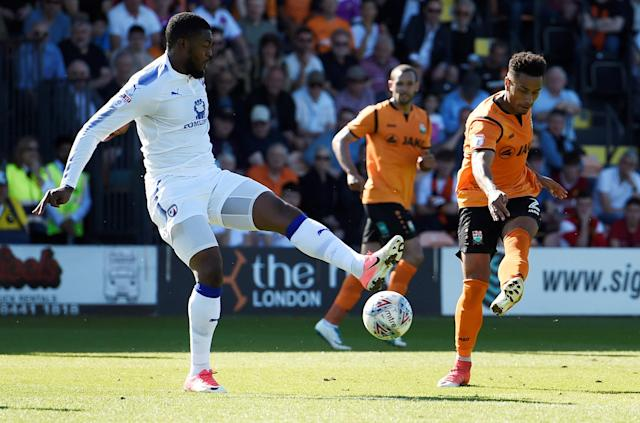 "Soccer Football - League Two - Barnet vs Chesterfield - The Hive, London, Britain - May 5, 2018 Barnet's Richard Brindley scores their second goal Action Images/Adam Holt EDITORIAL USE ONLY. No use with unauthorized audio, video, data, fixture lists, club/league logos or ""live"" services. Online in-match use limited to 75 images, no video emulation. No use in betting, games or single club/league/player publications. Please contact your account representative for further details."