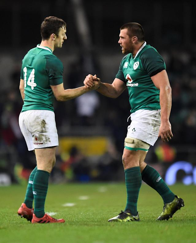 Rugby Union - Autumn Internationals - Ireland v Fiji - Aviva Stadium, Dublin, Republic of Ireland - November 18, 2017 Ireland's Darren Sweetnam and Jack McGrath celebrate after the match REUTERS/Clodagh Kilcoyne