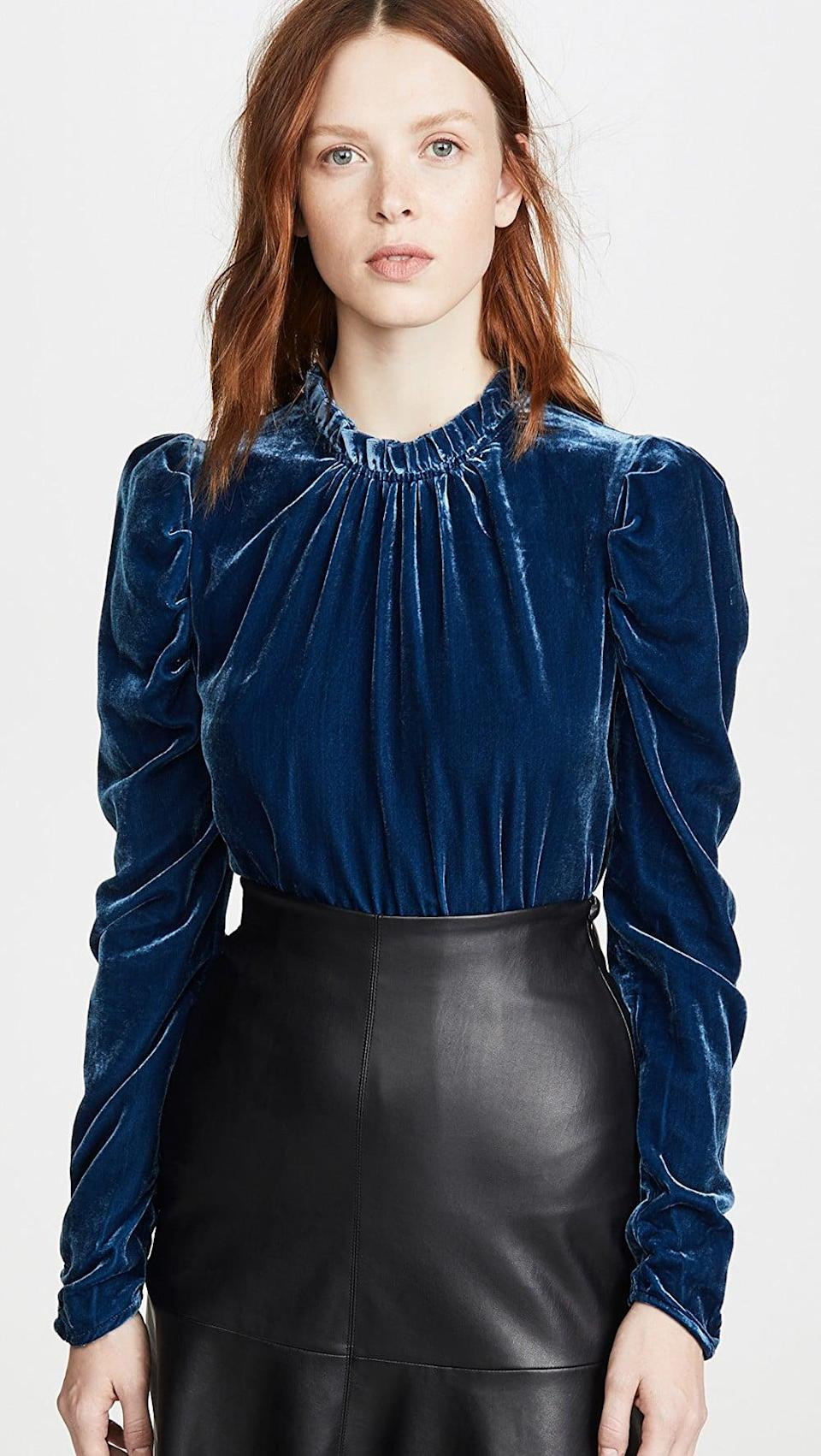 <p>This <span>Wayf Erika Puff Sleeve Top</span> ($98) is the perfect mix of luxurious and wearable. It's a winter go-to.</p>