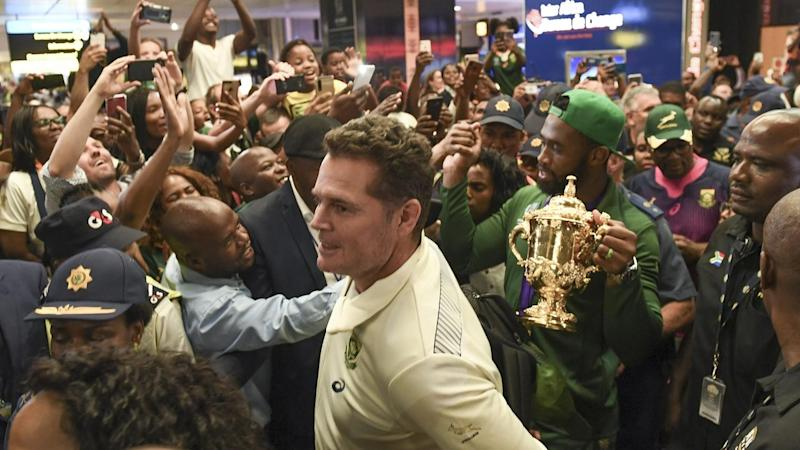Siya Kolisi, Rassie Erasmus and the South African rugby team have returned home to a huge welcome