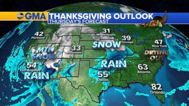 PHOTO: The stormy pattern continues into the holiday itself with rain and snow across the west and a new batch of rain from Texas to Missouri. (ABC News)