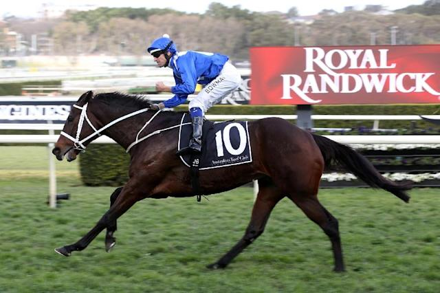 File picture shows Winx ridden by Hugh Bowman at the Royal Randwick race course in Sydney in August (AFP Photo/Bob Barker)