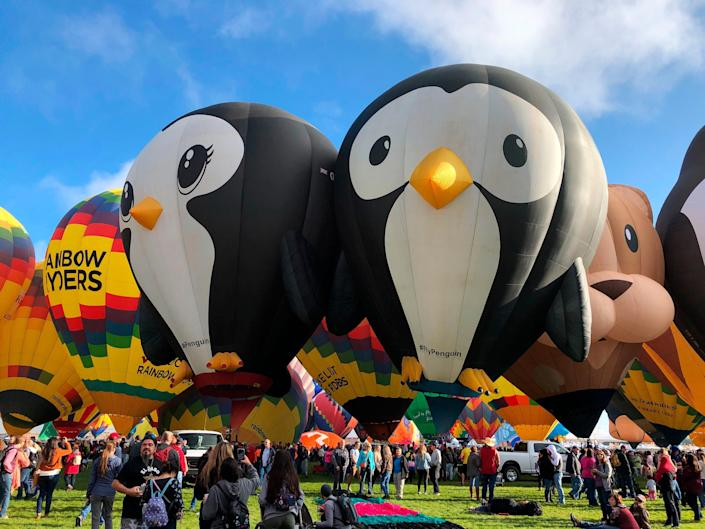Hot air balloons are inflated during the annual Albuquerque International Balloon Fiesta in Albuquerque, N.M., on Saturday, Oct. 5, 2019.