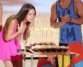 <p>Selena celebrated her 20th birthday on stage at the Teen Choice Awards in LA.</p>