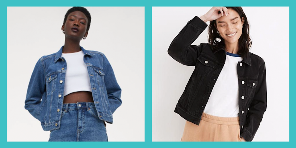 """<p>If there's one timeless piece of clothing <em>everyone</em> should have in their closet, it's a denim jacket. The durable cotton fabric is synonymous with American style and goes with almost any outfit. From <a href=""""https://www.prevention.com/beauty/style/g20631943/leggings-with-pockets/"""" rel=""""nofollow noopener"""" target=""""_blank"""" data-ylk=""""slk:leggings"""" class=""""link rapid-noclick-resp"""">leggings</a> and a <a href=""""https://www.prevention.com/fitness/workout-clothes-gear/g22117349/best-sports-bras-for-large-breasts/"""" rel=""""nofollow noopener"""" target=""""_blank"""" data-ylk=""""slk:sports bra"""" class=""""link rapid-noclick-resp"""">sports bra</a> to your favorite little black dress, jean jackets can be thrown over just about anything to make a look feel more casual.</p><p>But in order to find the best jean jacket, women need to consider a number of factors before committing. And figuring out what you plan on wearing it for and what type of look you want is just the start. Whether you're in need of an upgrade or are simply looking to add more denim to your wardrobe, we spoke with a few personal stylists to help you find the best one to elevate your look. </p><h2 class=""""body-h2"""">How to shop for the best jean jackets for women</h2><p><strong>✔️ Nail down your look</strong><strong>.</strong> """"There are two ways to approach jean jacket shopping,"""" says <a href=""""https://samanthabrownstyle.com/"""" rel=""""nofollow noopener"""" target=""""_blank"""" data-ylk=""""slk:Samantha Brown"""" class=""""link rapid-noclick-resp"""">Samantha Brown</a>, a celebrity and personal stylist in New York City. """"You're either going to look for the classic, fitted, more feminine look or go for an oversized, vintage jacket type of look."""" Knowing what you plan on wearing the jacket for will also help you narrow down your options, she explains. </p><p><strong>✔️ Consider the wash and color</strong><strong>.</strong> """"When shopping for jean jackets, think of how you would buy jeans based on the season,"""" says former celebrity stylist now """"mommy s"""