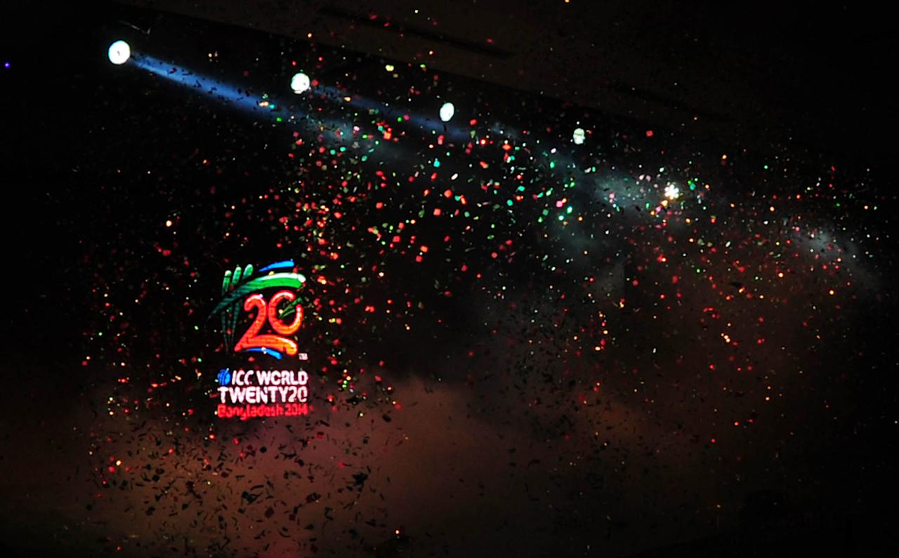 ICC T20 World Cup logo is seen during a logo unveiling ceremony at Radisson hotel in Dhaka on April 6, 2013. The ICC World Twenty20 2014 will be played from 16 March to 6 April 2014 and is scheduled for four venues around Bangladesh.  AFP PHOTO/STR        (Photo credit should read STR/AFP/Getty Images)