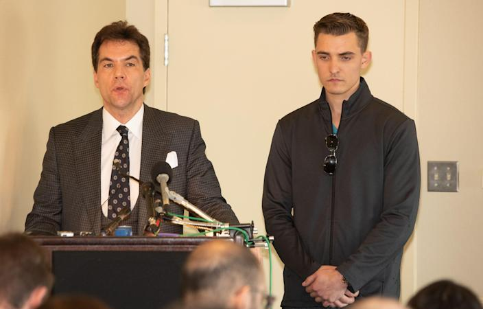 Jack Burkman and Jacob Wohl speak to the media at the Holiday Inn in Rosslyn Va., on Thursday. (Photo: John Middlebrook/CSM/REX/Shutterstock)