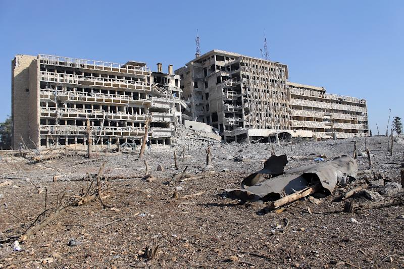 Destruction at Al-Kendi hospital in the northern Syrian city of Aleppo on December 21, 2013