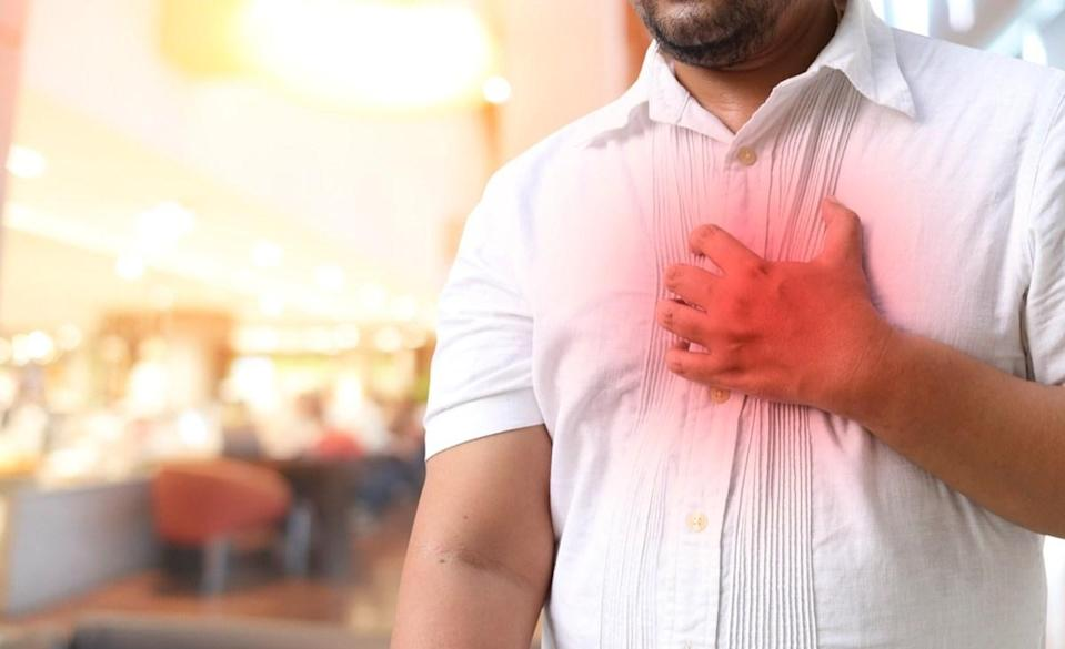 Man with hypertension heart