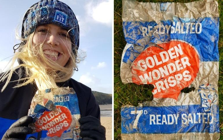 The crisp packet was found on a beach in Cornwall (SWNS)