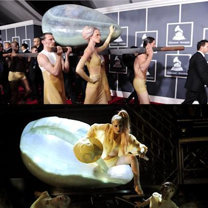 Lady Gaga at the 2011 Grammys. (Photos: Getty Images)