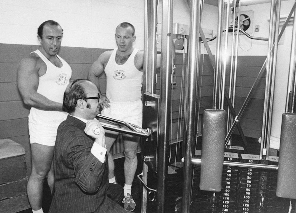 <p>These machines were added to gyms so that people looking to bulk up could safely lift on their own—without a spot. </p>