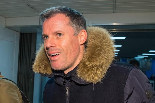 Jamie Carragher arrives at Euston this morning.