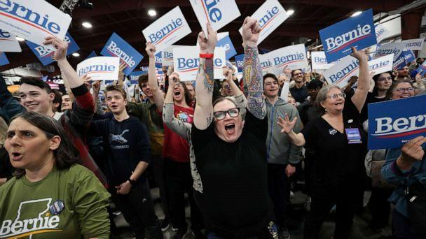 PHOTO: Supporters of Democratic presidential candidate Sen. Bernie Sanders cheer for early results at his Super Tuesday night rally in Essex Junction, Vt., March 3, 2020. (Jonathan Ernst/Reuters)