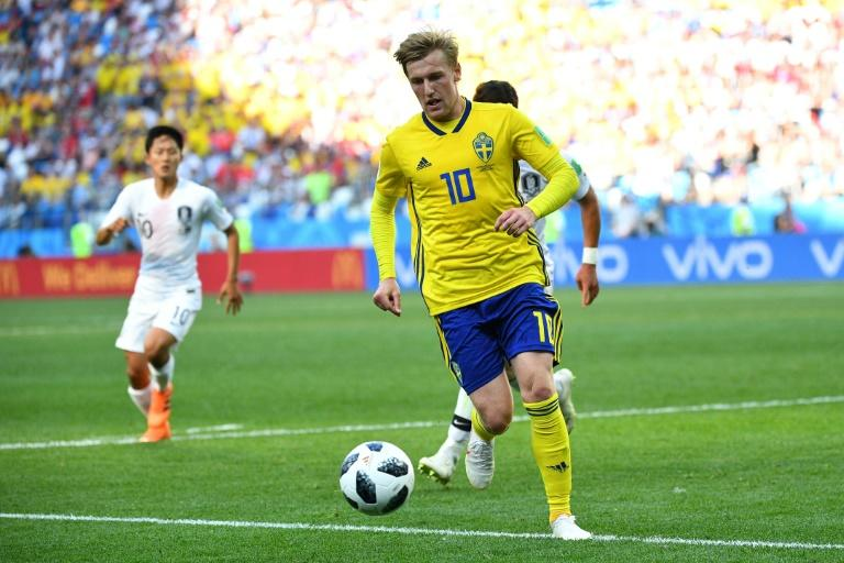 Emil Forsberg in action against South Korea in Sweden's opening World Cup game