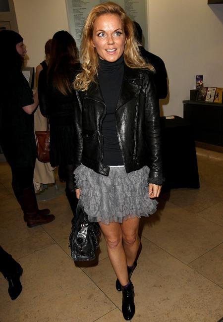 Celebrity fashion: Geri Halliwell's tired silver tutu skirt has revived last year's ballet trend and we like it. She put the ultra girlie trend in its place adding smart ankle boots, a black roll neck and leather jacket.