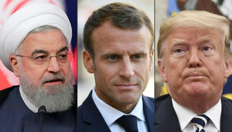French President Emmanuel Macron (C) plans to meet separately at the UN General Assembly in New York with his Iranian and US counterparts, Hassan Rouhani (L) and Donald Trump