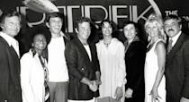 <p>(Left to right) DeForest Kelley, Nichelle Nichols, Leonard Nimoy, William Shatner, Persis Khambatta, Walter Koenig, Grace Lee Whitney, and James Doohan convene on March 28, 1979, to promote production of the first <i>Star Trek</i> feature film. <i>(Photo: Ron Galella/WireImage)</i></p>