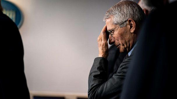PHOTO: Dr. Anthony Fauci, the director of the National Institute of Allergy and Infectious Diseases, rubs his forehead. (ERIN SCHAFF/The New York Times/Redux)