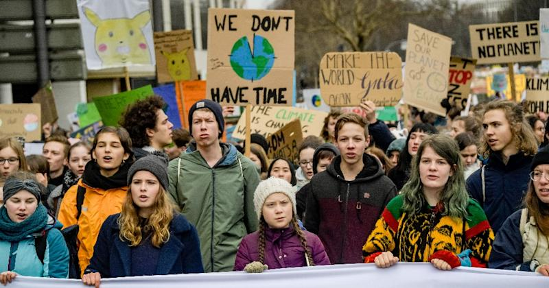 Swedish climate activist Greta Thunberg (centre) has been nominated for this year's Nobel Peace Prize