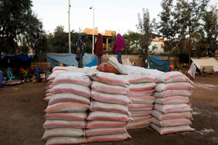 Bags of food donations are seen at the Tsehaye primary school in Shire
