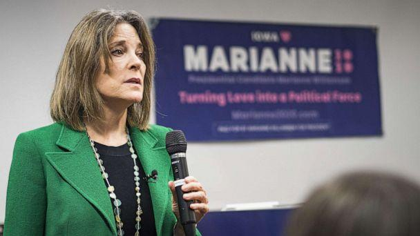PHOTO: Marianne Williamson talks to a group of about 50 Iowans during a campaign appearance at the Central Public Library in Des Moines, Nov. 21, 2019. (Jack Kurtz/ZUMAPRESS.com via Newscom, FILE)