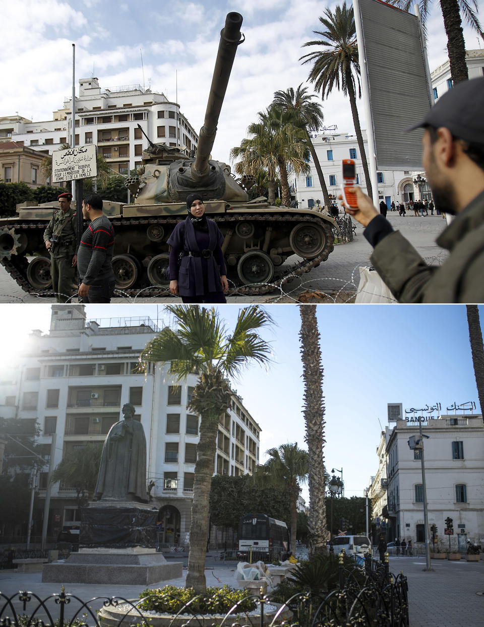 A combo image showing a woman posing next to a tank in central Tunis, Friday, Jan. 21 2011, top, and an empty street near Tunis' landmark Avenue Habib Bourgiba, on the tenth anniversary of the uprising, due to a national lockdown after a surge in Covid-19 cases, in Tunis, Thursday, Jan. 14, 2021. Tunisia is commemorating the 10th anniversary since the flight into exile of its iron-fisted leader, Zine El Abidine Ben Ali, pushed from power in a popular revolt that foreshadowed the so-called Arab Spring. But there will be no festive celebrations Thursday marking the revolution in this North African nation, ordered into lockdown to contain the coronavirus. (AP Photo/Christophe Ena, Mosa'ab Elshamy)