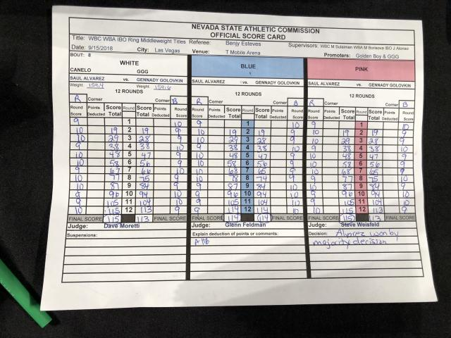 The official Gennady Golovkin-Canelo Alvarez scorecard from Sept. 15, 2018. (Yahoo Sports)