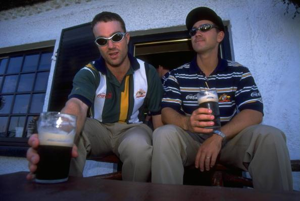 1 Aug 1997: Michael Slater and Justin Langer of Australia relax at the public house during their Ashes tour in Northern Ireland. \ Mandatory Credit: Clive Mason /Allsport