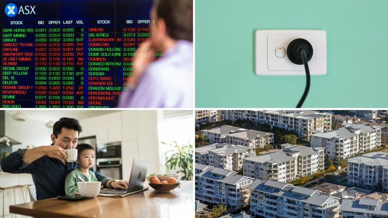 Pictured: ASX ticker board, man and child working from home, Australian apartments, Australian powerpoint.