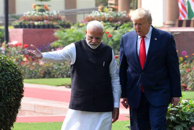 Prime Minister Narendra Modi and US President Donald Trump at Hyderabad House, on February 25, 2020 in New Delhi.