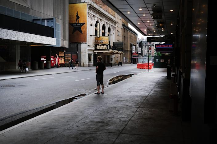 Closed Broadway theaters on June 30, 2020, in New York City.