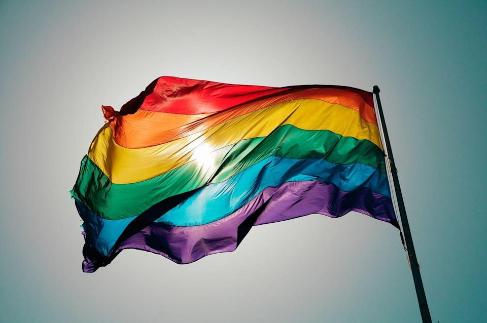 """<p>This is probably the flag you'll see most often: Six colors, apparently easier to produce than the odd-numbered seven (although <a href=""""https://gizmodo.com/how-the-rainbow-pride-flag-lost-its-pink-and-turquoise-1714201920"""" rel=""""nofollow noopener"""" target=""""_blank"""" data-ylk=""""slk:other reports"""" class=""""link rapid-noclick-resp"""">other reports</a> say it was more about making the flag easier for parades and to hang on posts). The rainbow flag can operate as a general flag for the LGBTQ+ community, but it's not necessarily all-inclusive. Many of the following flags (intersex, asexual, non-binary, etc.) embody different identities that exist within Q (queer) and/or outside this acronym. </p>"""