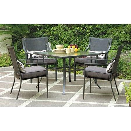 <p>Patio furniture will change your outdoor space. This <span>Mainstays Alexandra Square 5-Piece Patio Dining Set</span> ($225, originally $249) is just what you need for the season.</p>
