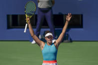 Jennifer Brady, of the United States, reacts after defeating Yulia Putintseva, of Kazakhstan, during the quarterfinals of the US Open tennis championships, Tuesday, Sept. 8, 2020, in New York. (AP Photo/Seth Wenig)