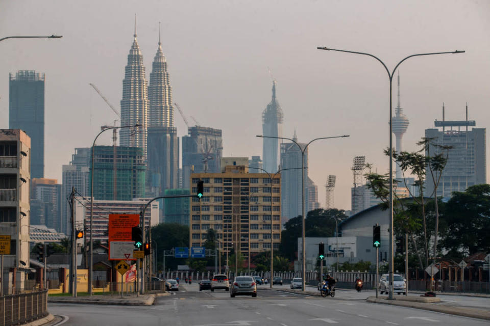 A view of the city skyline during the movement control order in Kuala Lumpur July 1,  2021. — Picture by Firdaus Latif