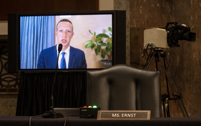 UNITED STATES - NOVEMBER 17: Mark Zuckerberg, Chief Executive Officer of Facebook, testifies remotely during the Senate Judiciary Committee hearing on ÒBreaking the News: Censorship, Suppression, and the 2020 ElectionÓ on Tuesday, Nov. 17, 2020. (Photo By Bill Clark/CQ-Roll Call, Inc via Getty Images)