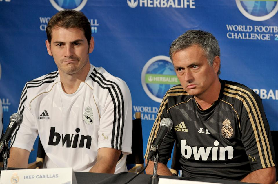 CENTURY CITY, CA - JULY 12: Iker Casillas of Real Madrid and Real Madrid head coach Jose Mourinho pose at the Herbalife World Football Challenge Superstar Press Conference at Creative Artists Agency's Ray Kurtzman Theatre on July 12, 2011 in Century City, California.  (Photo by Gregg DeGuire/FilmMagic)