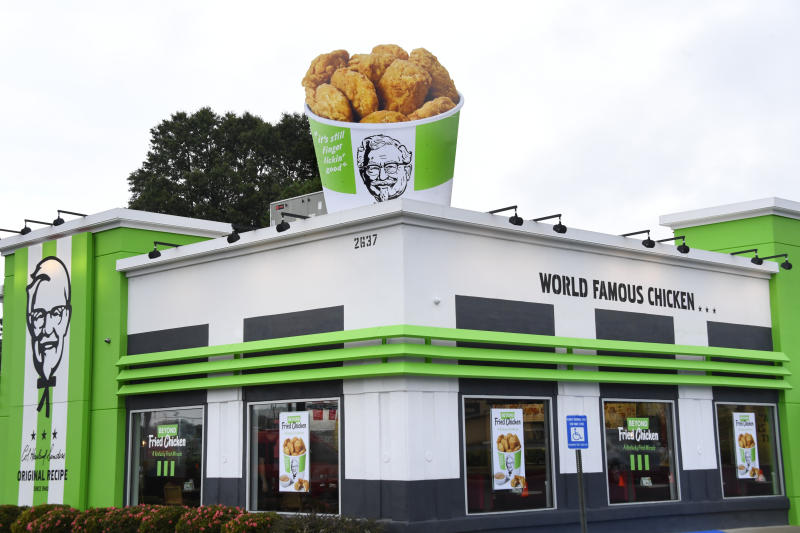 IMAGE DISTRIBUTED FOR BEYOND MEAT- KFC and Beyond Meat launched plant-based chicken at a local Atlanta KFC, featuring an oversized 12 ft x 9ft bucket, accented by KFC's temporarily green exterior, Tuesday, Aug. 27, 2019. (John Amis/AP Images for Beyond Meat)